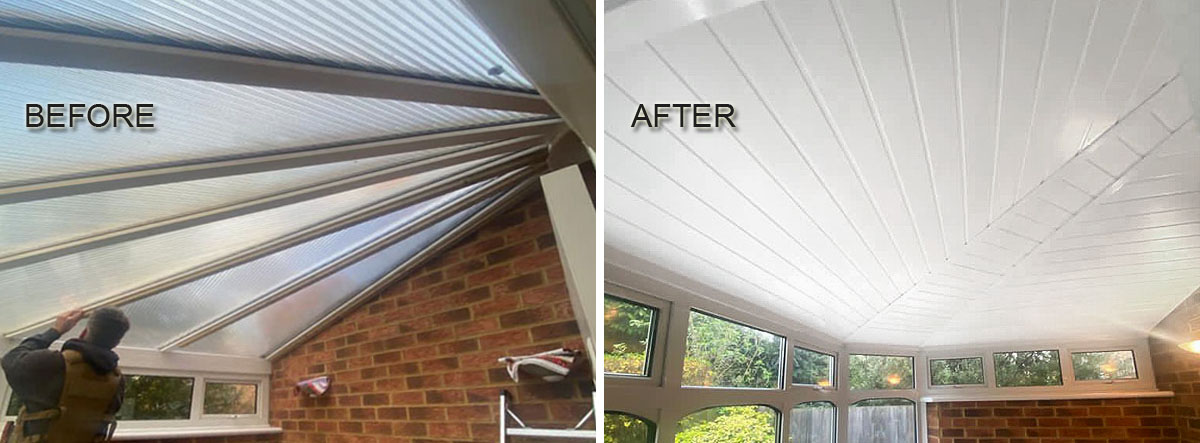 Before and after conservatory roof insulation fitted