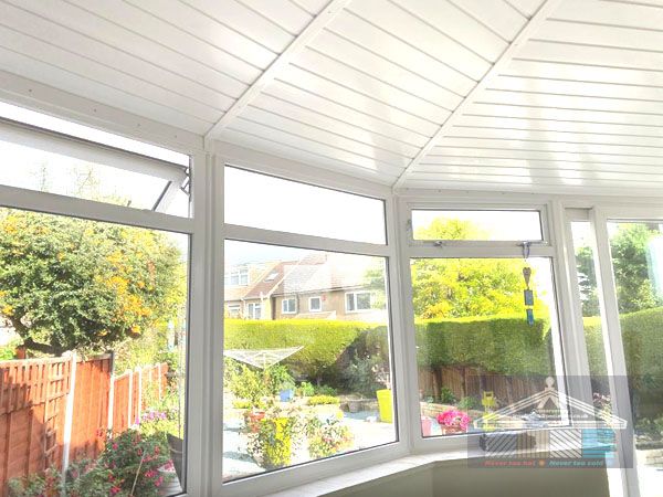 conservatory interior with new insulated roof